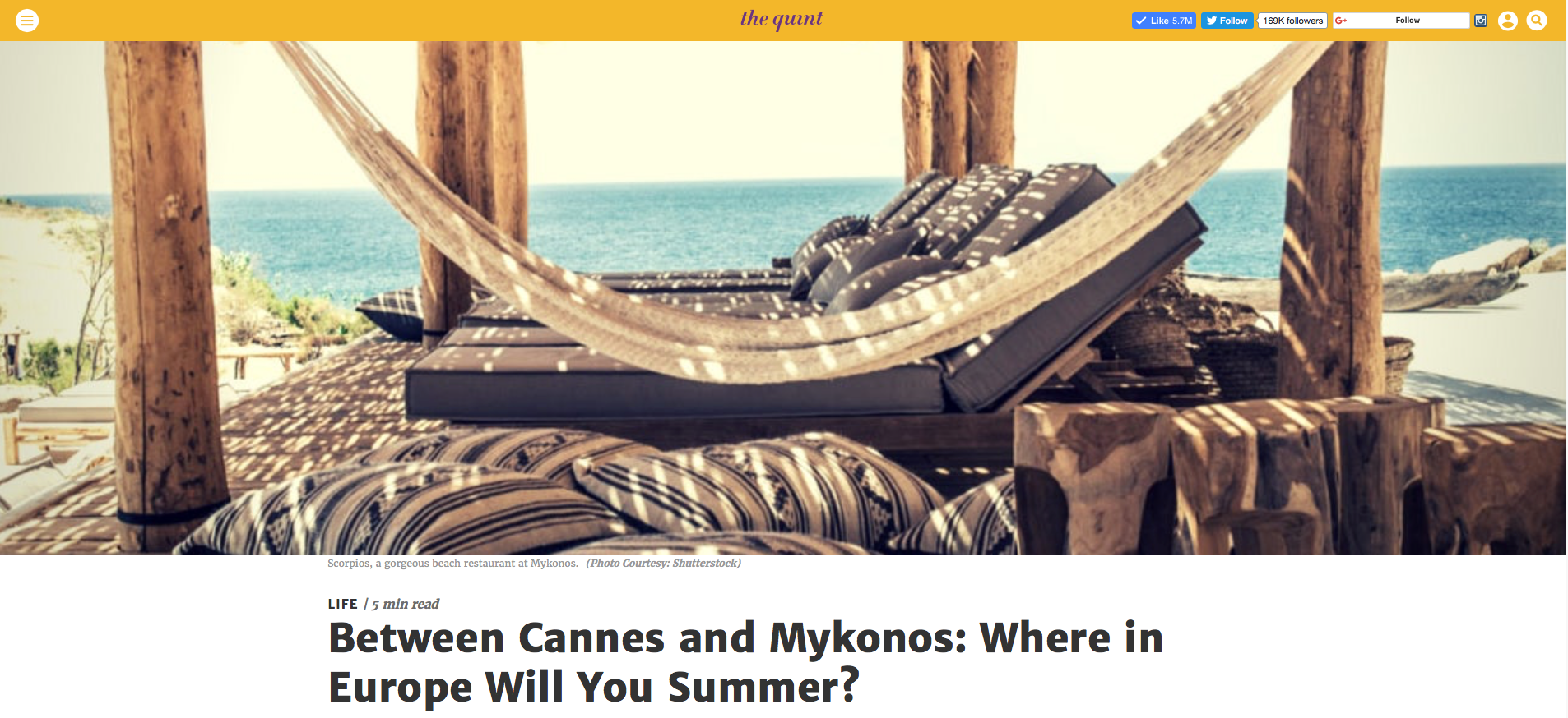 The Quint - Between Cannes and Mykonos: Where in Europe Will You Summer?