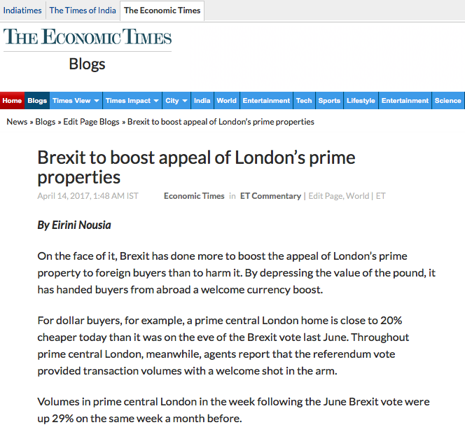 ECONOMIC TIMES OF INDIA - Brexit to boost appeal of London